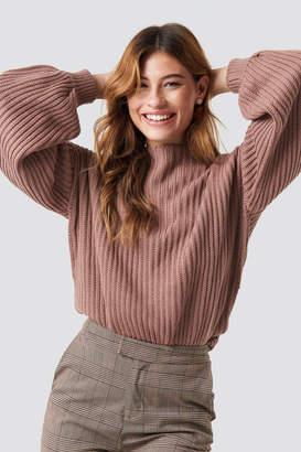 NA-KD Na Kd Balloon Sleeve Knitted Sweater Beige