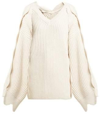 Stella McCartney Oversized Scallop Edged Cotton Blend Sweater - Womens - Ivory