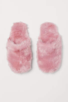 H&M Faux Fur Slippers - Pink