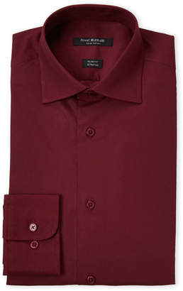 Isaac Mizrahi New Burgundy Stretch Slim Fit Dress Shirt