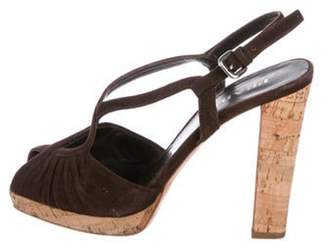 Prada Suede Peep-Toe Sandals Brown Suede Peep-Toe Sandals