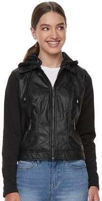 J 2 Juniors' J-2 Knit-Sleeeve Hood Faux-Leather Jacket