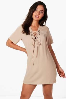 boohoo Triangle Metal Detail Lace Up Shift Dress