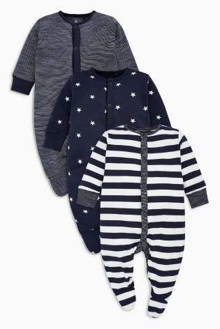 Boys Navy/White Stripe And Star Print Sleepsuits Three Pack (0mths-2yrs) - Blue