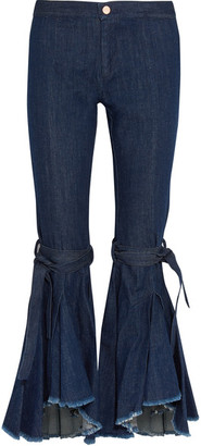 Maggie Marilyn - Firm In Her Beliefs Frayed High-rise Flared Jeans - Indigo $350 thestylecure.com