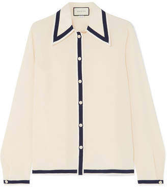 Gucci Grosgrain-trimmed Silk Crepe De Chine Shirt - Ivory