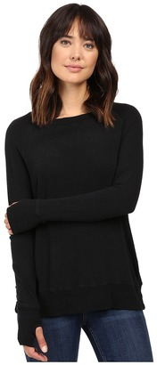 Allen Allen Long Sleeve Crew w/ Crossover Back $88 thestylecure.com
