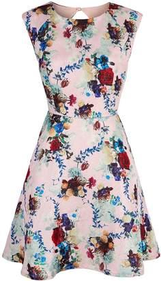 Yumi Winter Floral Print Cap Sleeve Dress