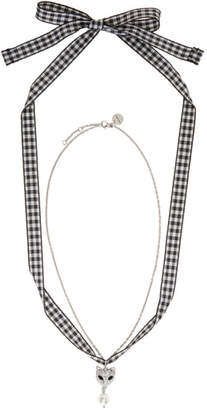 Miu Miu Silver Cat and Pearl Charm Necklace