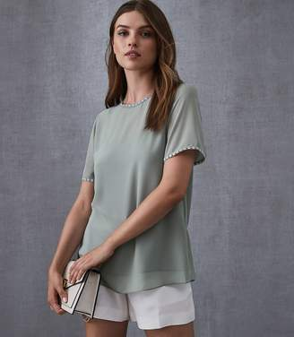 Reiss STELLA LACE TRIM TOP Pale Green