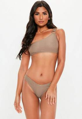Missguided Brown Textured Ring One Shoulder Bikini Top