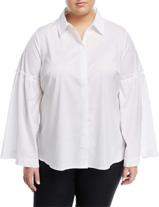 Neiman Marcus Plus Poplin Bell-Sleeve Blouse, Plus Size