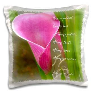 3dRose Love is Patient Pink Calla Lily Flower - Photography - Inspirational - Pillow Case, 16 by 16-inch