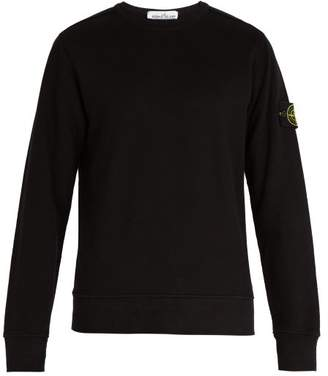Stone Island Logo Patch Cotton Jersey Sweatshirt - Mens - Black