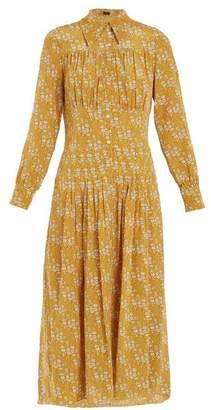 Joseph Josie Floral Print Silk Midi Dress - Womens - Yellow Print