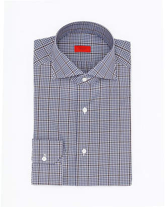 Isaia Overcheck Cotton Dress Shirt