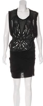 IRO Silk Embroidered Mini Dress