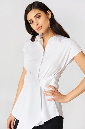 Na Kd Trend Tied Waist Cap Sleeve Shirt