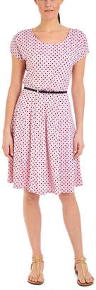 Asstd National Brand NY Collection Polka Dot Dress with Contrasting Belt