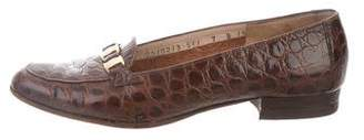 Salvatore Ferragamo Crocodile Round-Toe Loafers