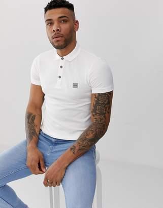 BOSS slim fit logo polo shirt in white