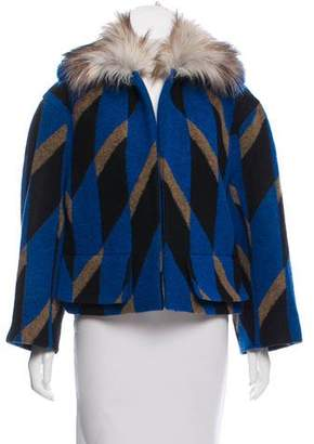 Dries Van Noten Fur-Trimmed Wool Jacket