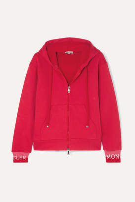 Moncler Intarsia-trimmed Cotton-blend Jersey Hoodie - Red