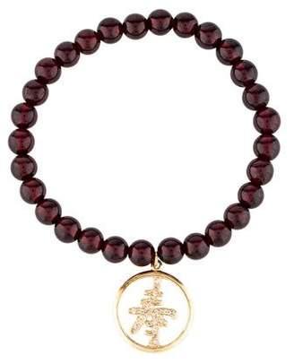 Sydney Evan 14K Garnet & Diamond Bead Bracelet
