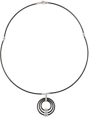 Alor Concentric Diamond Pendant Necklace Black