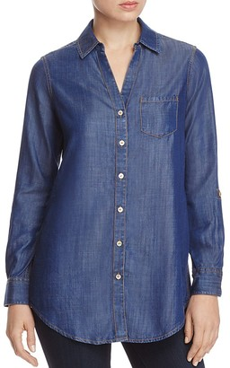 Foxcroft Chambray Button-Down Tunic $89 thestylecure.com