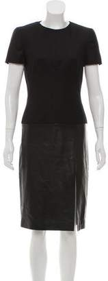 Alexander McQueen Leather-Paneled Virgin Wool Dress