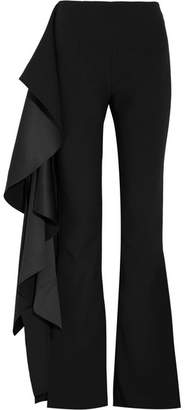 SOLACE London Ruffled Hammered-satin And Crepe Flared Pants - Black