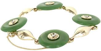 One Kings Lane Vintage 14K Gold Jade & Diamond Bracelet