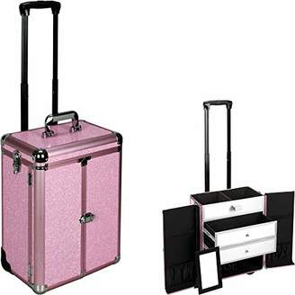 Justcase E6306 Professional Makeup Cosmetic Rolling Train Case Organizer Storage With 2 Large Drawers