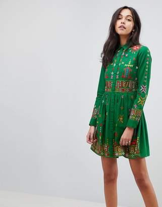Asos DESIGN PREMIUM Geo-Tribal Mini Embroidered Skater Shirt Dress
