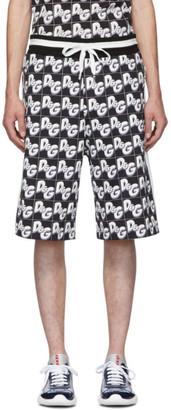 Dolce & Gabbana Black All-Over Logo Shorts