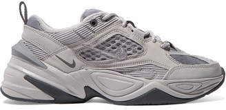 Nike M2k Tekno Leather, Canvas, Corduroy And Mesh Sneakers - Gray
