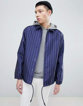 Mennace Coach Jacket In Navy Pinstripe
