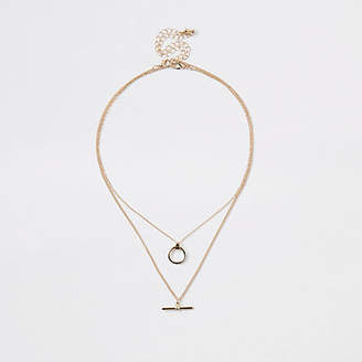 River Island Gold tone T bar necklace multipack
