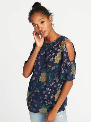 Old Navy Relaxed Cold-Shoulder Slub-Knit Top for Women