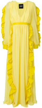 MSGM long sleeve ruffle trim gown