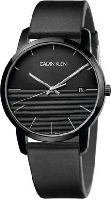 Calvin Klein City Leather Strap Watch, 43mm