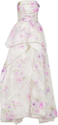 Monique Lhuillier Floral Print Jacquard Gown