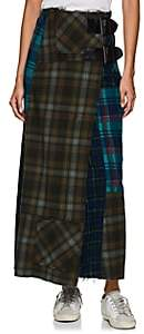 Needles Women's Patchwork Plaid Wool Wrap Skirt