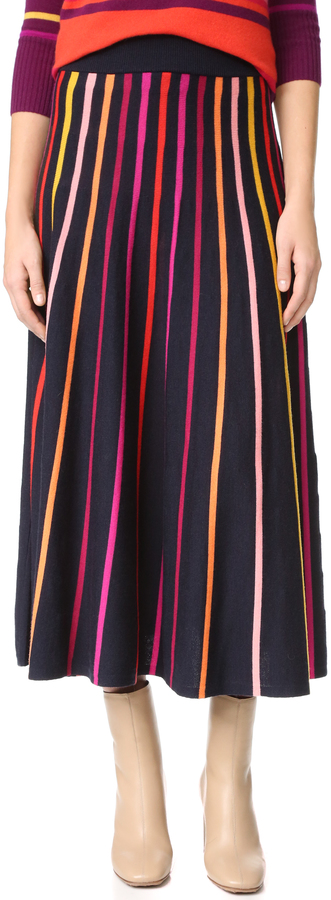 Navy Midi Skirt - ShopStyle Australia