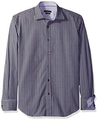 Bugatchi Men's Mini Check Button Down Shirt