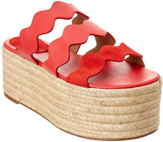 Chloé Lauren Leather Flatform Espadrille Sandal