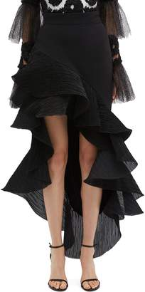 Maticevski 'Palos' plissé pleated ruffle high-low skirt