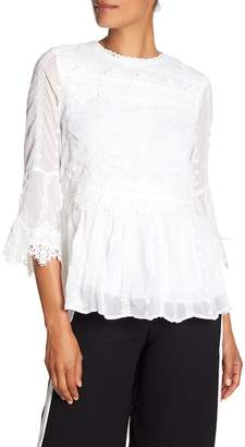 Nicole Miller New York 3/4 Sleeve Lace Blouse