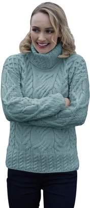 Carraigdonn Carraig Donn Ladies Large Cable Polo Neck Wool Irish Sweater